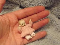 Miniature handmade MINI BABY GIRL & OUTFIT ooak DOLLHOUSE ART DOLL CLOTHES 1/12