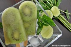 Paletas de hielo de mojito de kiwi