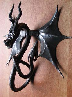 Blacksmith Made Dragon Door Knocker by Adrian The Smith at Trinity Forge, via Flickr