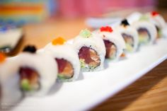 avocado & tuna sushi, eel & avocado sushi - rooftop food