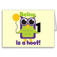 Hoot Owl 1st Birthday T-shirts and Gifts Greeting Cards