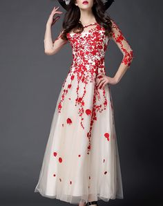 Check the details and price of this Red Embroidered Floral A-line Evening Dress (Red, O.S.Y) and buy it online. VIPme.com offers…