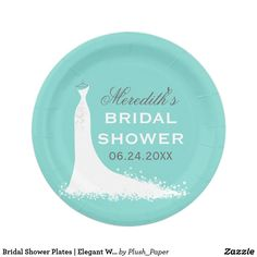 Bridal Shower Plates | Elegant Wedding Gown Wedding bridal shower plates for the stylish bride-to-be feature a flowing wedding gown design, custom text that can be personalized, and a color scheme of white, aqua / robin's egg blue, and dark charcoal gray colors.