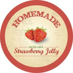 "Homemade Strawberry Jam Label - 2.5"" Round"