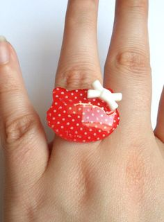 Red Hello Kitty Ring by ToxicInjection on Etsy