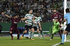 Luis Suarez of FC Barcelona celebrates after scores the first goal during the UEFA Champions League group D match between Sporting CP and FC Barcelona at Estadio Jose Alvalade on September 27, 2017 in Lisbon, Portugal.