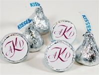 Wedding Kiss Stickers - decorate your reception tables with these great little favors. Inexpensive yet personalized to your event. Match the monogram color to your wedding colors.