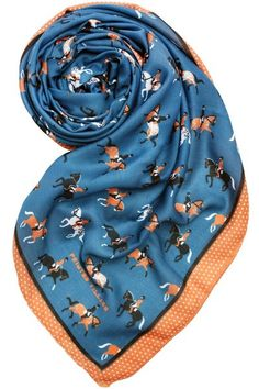 """Lightweight and stylish, this """"Dressage"""" motif scarf will be a chic, finishing touch to any outfit. Printed Village is a Fashion Brand that's also a Design Community. Designs reinterpret organic eleme"""
