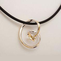 Snaggling Pendant, Modern art Jewelry, Sterling Silver, 18K Yellow Gold Bimetal by Nancy Linkin