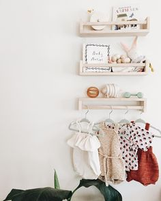 a little shelf update in edie's nursery. she's getting out of the newborn phase so dressing up is gonna start getting more fun! #calivintagehome