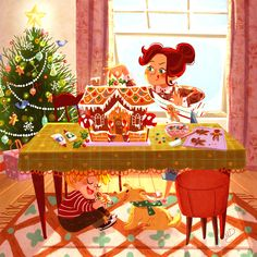 Illustrator Monique Dong: Gingerbread House #illustration #art #drawing #characterdesign #childrensbooks #cute #kids #Christmas #gingerbread #house