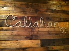 Rustic/ Country Nursey idea - Rope Name Decor, could mount onto timber wall hanging piece