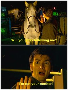 Doctor Who - The Girl in the Fireplace.The horse must have mistaken the Doctor for Loki! Doctor Who, 10th Doctor, Don't Blink, David Tennant, Dr Who, Superwholock, Tardis, Mad Men, I Laughed