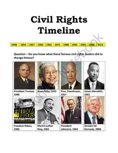 US Civil Rights Timeline from No Teacher Left Behind on TeachersNotebook.com (11 pages)  - US Civil Rights Timeline Middle School History, History Class, British History, World History, American History, Black History Month Activities, Teaching Geography, Civil Rights Leaders, Social Studies Activities