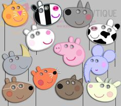 Peppa Pig Party Photo Booth Props-1, Peppa Pig Friends Party Photo Props