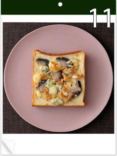9月11日 「しめさばトースト」 【使った材料】しめさば、ブルーチーズ、フライドオニオン