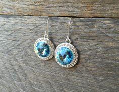 Aquamarine Crystal Earrings Swarovski Rhinestone Dangle on Silver or Gold French Wire Hook by haileyallendesigns