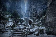The stone steps leading up from Cisarska Chodba (Emperor's Passage) at Prachov Rocks, Bohemian Paradise