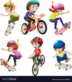 Kids playing vector image on VectorStock Abc For Kids, Yoga For Kids, Kids Going To School, Kids Umbrellas, Kids Reading Books, Kids Vector, Kids Tv Shows, Kids Logo, Cartoon Kids