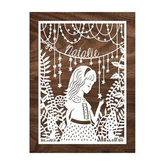 SO PRETTY!  Personalized Handcut Papercut - Magical Forest - 5x7 Papercut Illustration customized with your choice of name and cut by hand - by SarahTrumbauer on Etsy.