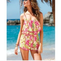 VS Blouson floral romper Floral romper cover-up. Sold out on VS site! Great at the beach over your bikini!! ☀️. Pink and green flowers with hot pink scallop loops. Victoria's Secret Swim Coverups