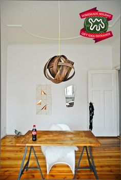 Make this Homemade Holiday Gift:   Wood Veneer Pendant Lamp   HOMEMADE HOLIDAY GIFT IDEA EXCHANGE: PROJECT #20