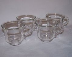 Imperial Glass Candlewick Set of 4 Footed Cups 2 7/8""