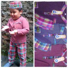 Busana muslim anak laki laki model potongan celan , bahan kaos cotton atasan dan bwahan bahan 100% cotton dengan aplikasi bordir dan topi