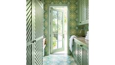 This New Palm Beach House Is Bursting With Old Florida Charm Hand painted tiles in laundry room Seaside Style, Florida Style, Old Florida, Florida Home, Entry Stairs, Entry Way Design, Step Inside, Formal Living Rooms, Beach House Decor