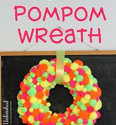 DIY Neon Pom Pom Wreath