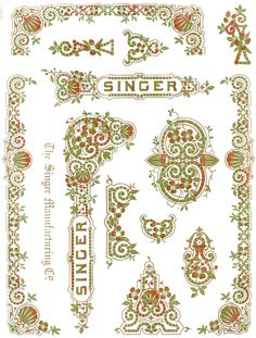 "Decals for Singer 28, 128 "" Tiffany Style "" Restoration - Waterslide Transfer - 3 Color Metallic"
