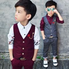 New Fashion Kids Baby Boys Gentleman Suit for Wedding Clothes Waistcoat + Pants Wedding Blazer Brand Flower Boys Formal. Boys Vest Outfit, Blazer For Boys, Baby Boy Suit, Baby Boy Dress, Baby Boys, Toddler Girl, Outfits Niños, Kids Outfits, Boys Dress Outfits