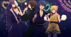 bandage black_eyes blonde_hair blue_eyes blue_hair brown_hair festival fireworks food green_eyes hiyama_kiyoteru japanese_clothes kagamine_len kaito kamui_gakupo long_hair male mask purple_hair vocaloid yukata