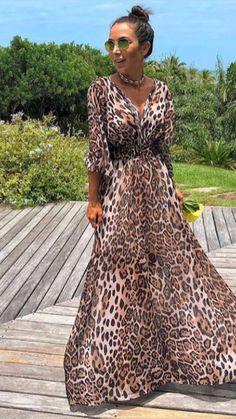 Animal Print Fashion, Tribal Fashion, Fashion Prints, Boho Fashion, Womens Fashion, Maxi Outfits, Girl Outfits, Fashion Outfits, Leopard Print Outfits