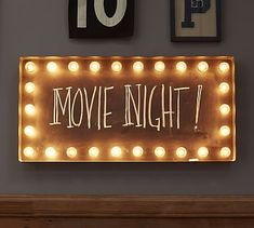 "Lit Wall Sign #potterybarn. 33.25"" x 16.25"".  I want to make my own with a window frame, lights and chalkboard paint!!!!!"