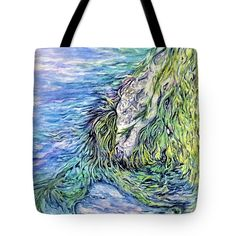 """Tidal Motion Tote Bag (18"""" x 18"""") by Sand And Chi  .  The tote bag is machine washable, available in three different sizes, and includes a black strap for easy carrying on your shoulder.  All totes are available for worldwide shipping and include a money-back guarantee."""