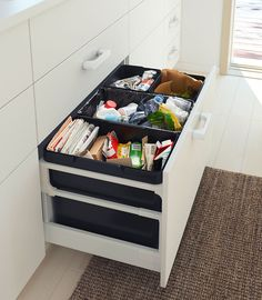 add bins with handles to deep drawers for a neat way to. Black Bedroom Furniture Sets. Home Design Ideas