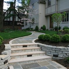 Landscaping Retaining Walls, Outdoor Landscaping, Front Yard Landscaping, Backyard Patio, Retaining Wall Steps, Shade Landscaping, Landscaping Ideas, Front Porch Steps, Front Walkway