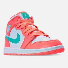 Nike Girls' Little Kids' Air Jordan 1 Mid Basketball Shoes - Basketball Cute Nike Shoes, Cute Sneakers, Nike Air Shoes, Kid Shoes, Sneakers Nike, Cute Shoes For Kids, Shoes Uk, Adidas Shoes, Vans Shoes