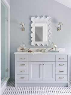 Scalloped mirror in mostly white bathroom White Scalloped Mirror, Bathroom Inspiration, Bathroom Decor, Light Grey Bathrooms, Girls Bathroom, Beautiful Bathrooms, Top Grey Paint Colors, Shingle House, Bathroom Design