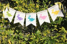 EASTER burlap banner  Bunnies  Bunny rabbit  by butterflyabove, $22.00