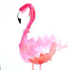 Flamingo watercolor wall art / Pink Flamingo by WildHumm on Etsy