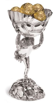 The frog and tortoise sweet bowl is a fantastical piece conjured up by Patrick Junior. It tells the fairy tale story of his young imagination and his fascination with frogs. Sterling Silver sweet bowl: Height x Length