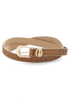 Countryside Bound Belt. With the speakers blasting your favorite song and the windows down, welcoming the grassy scent that means youre home, you wear your favorite vegan faux-leather belt for a return visit! #tan #modcloth