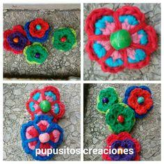 Flores prendedor crochet