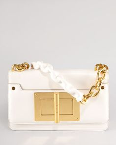 Maxi Chain Ivory Calfskin Shoulder Bag by Tom Ford at Neiman Marcus. Tom Ford Handbags, Handbags Michael Kors, Stylish Handbags, Fashion Handbags, White Chic, Cute Bags, My Bags, Evening Bags, Clutch Bag