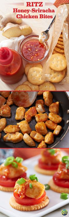 Who doesn't love hot sauce? Our RITZ cracker Honey-Sriracha Chicken Bites make for a savory and sweet appetizer the whole family can enjoy! Sautée chicken in a large skillet with a mixture of honey, m(Honey Chicken Bites) Finger Food Appetizers, Best Appetizers, Appetizer Recipes, Honey Sriracha Chicken, Sriracha Sauce, How To Cook Chicken, Cooked Chicken, Glazed Chicken, Chicken Bites