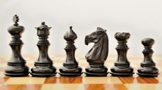 New Handcarved Wooden Weighted Staunton Chess Set Ebony Wood Wood Projects, Woodworking Projects, Lathe Projects, Wood Router, Wood Lathe, Cnc Router, Chess Table, Kings Game, Auction Projects