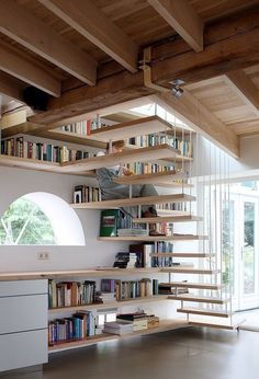 bookshelves under and along the stairs  - via teaching literacy.