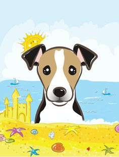 Jack Russell Terrier Summer Beach Flag Canvas House Size BB2129CHF
